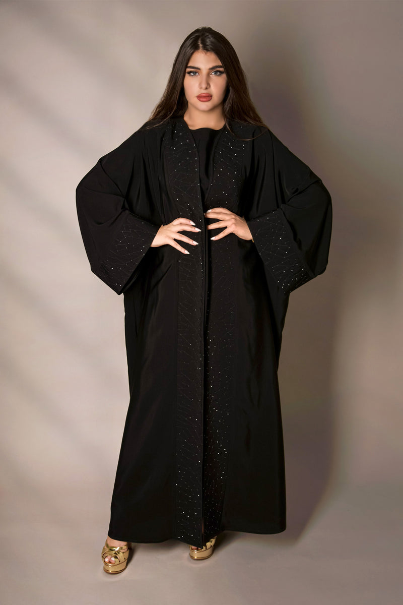 BLACK STAR GAZE LAPELS CRYSTALLIZED ABAYA.