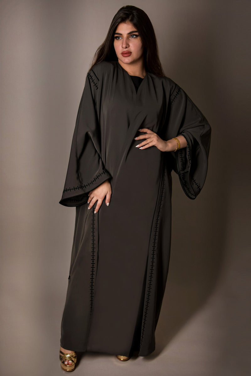 DARK GREY HAND EMBROIDERED SLEEVE CREPE ABAYA.