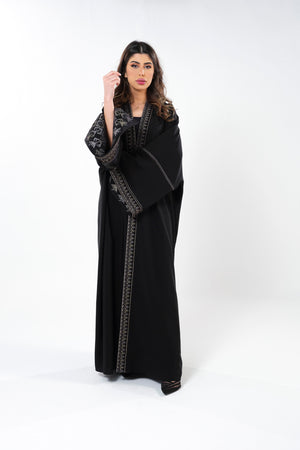 BLACK CUT SLEEVE SOALON OPEN ABAYA