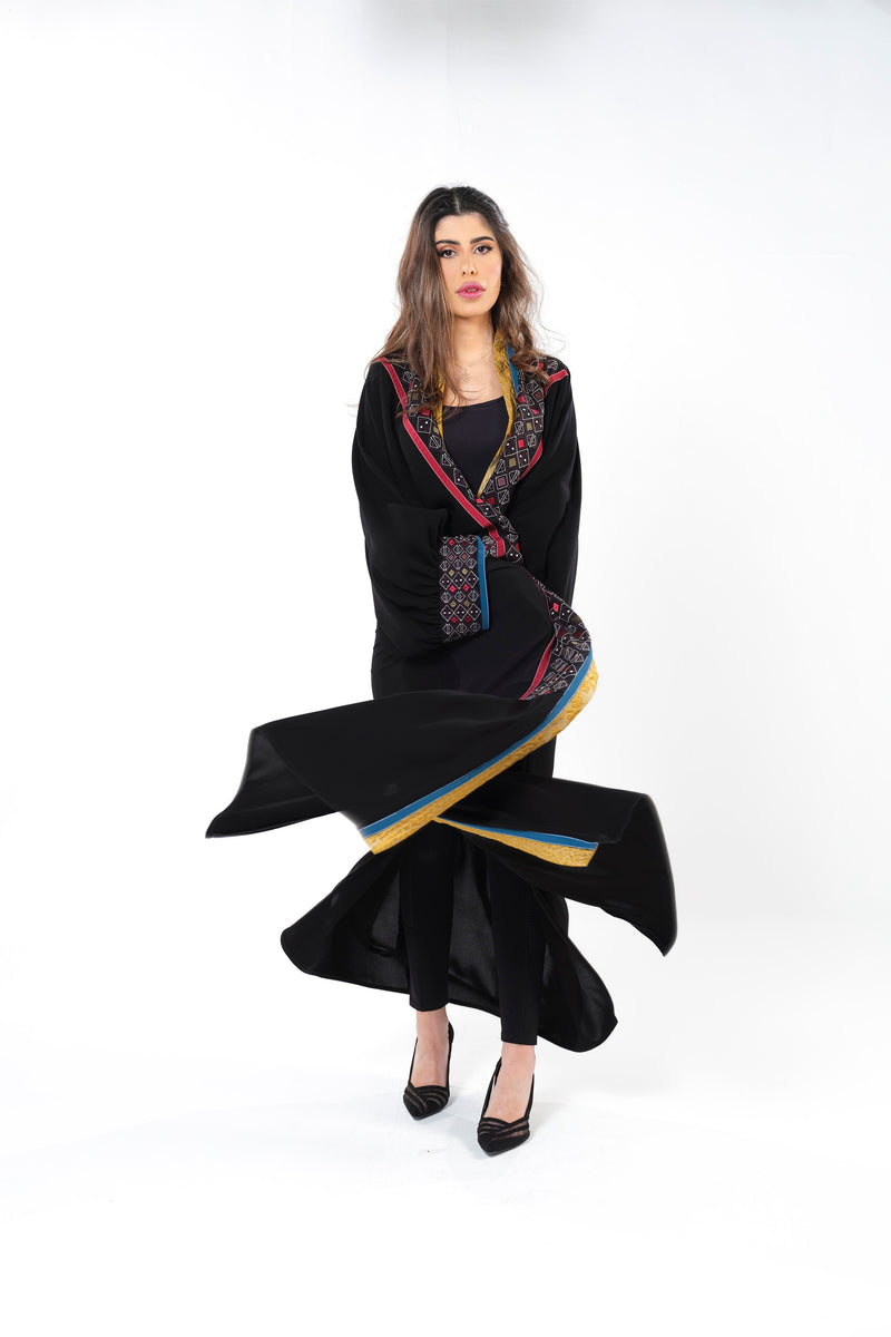 BLACK MULTICOLOR EMBRODERED OPEN ABAYA