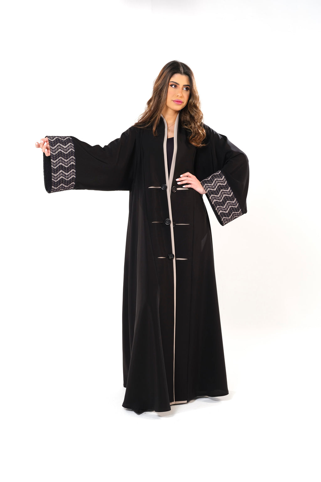 BLACK LACE APPLIQUE OPEN ABAYA