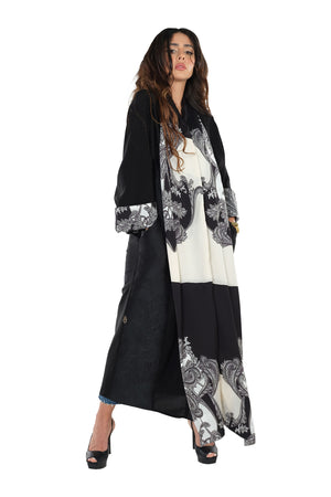 BLACK SILK & SOALON DOUBLE OPEN ABAYA