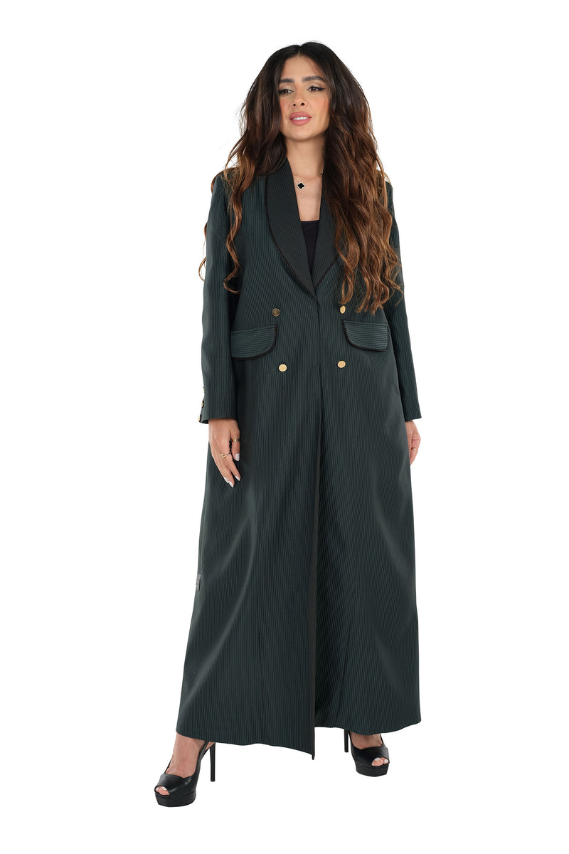 GREEN TWILL JACQUARD OPEN JACKET ABAYA