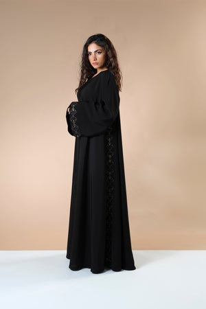 BLACK EMBROIDERED GOLDEN SOALON ABAYA.