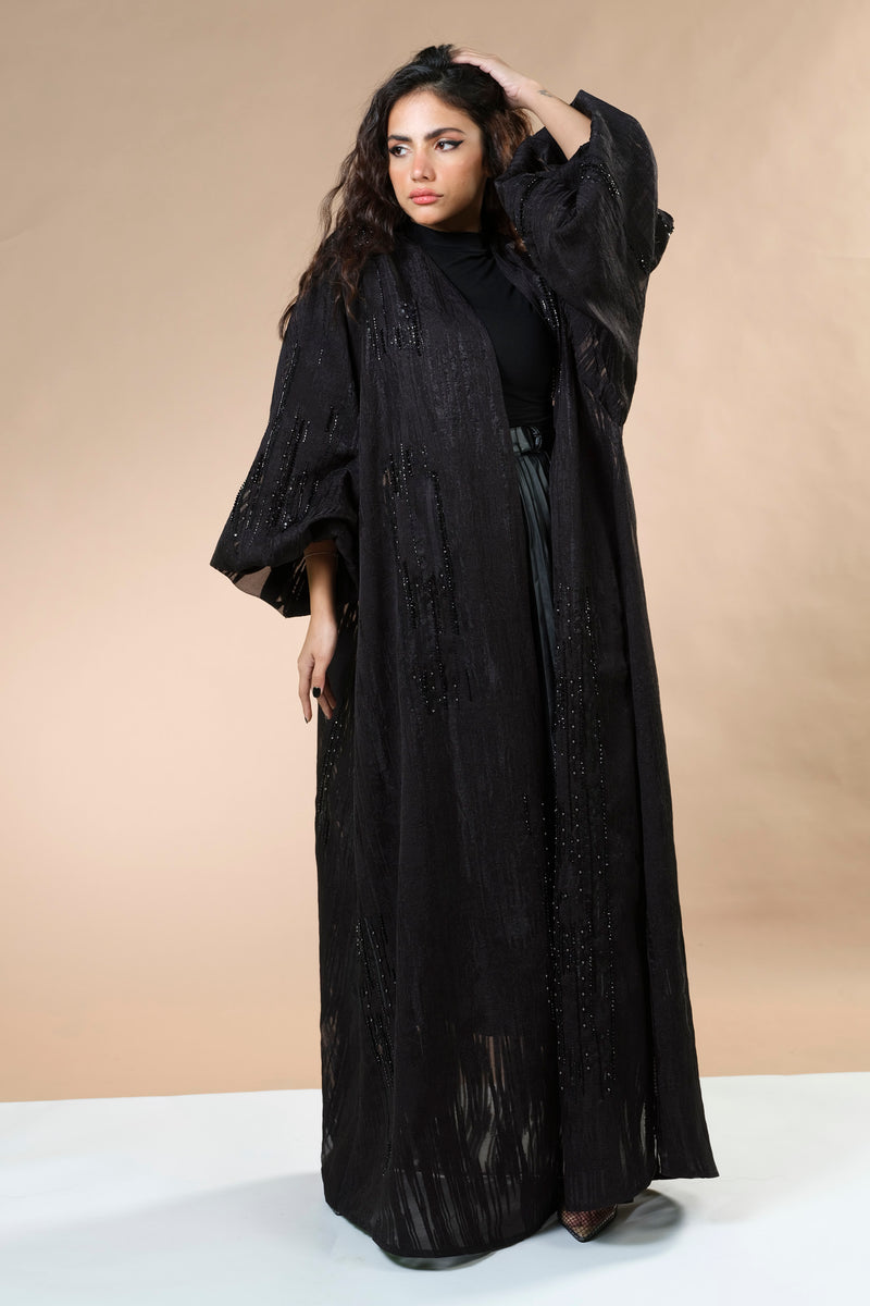 BLACK JACQUARD HAND EMBRODERED OPEN ABAYA.