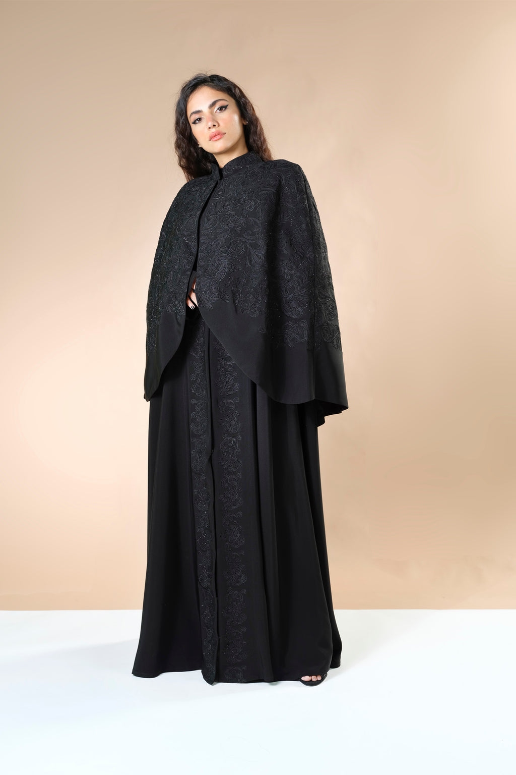 BLACK EMBRODERED DOUBLE CUT OPEN ABAYA