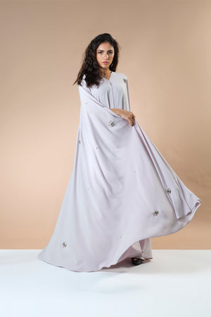 BEIGE CRYSTALIZED CREPE EMBRODERED  ABAYA.