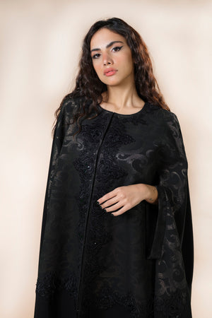BLACK GOLDEN JAQUARD CAPE ABAYA