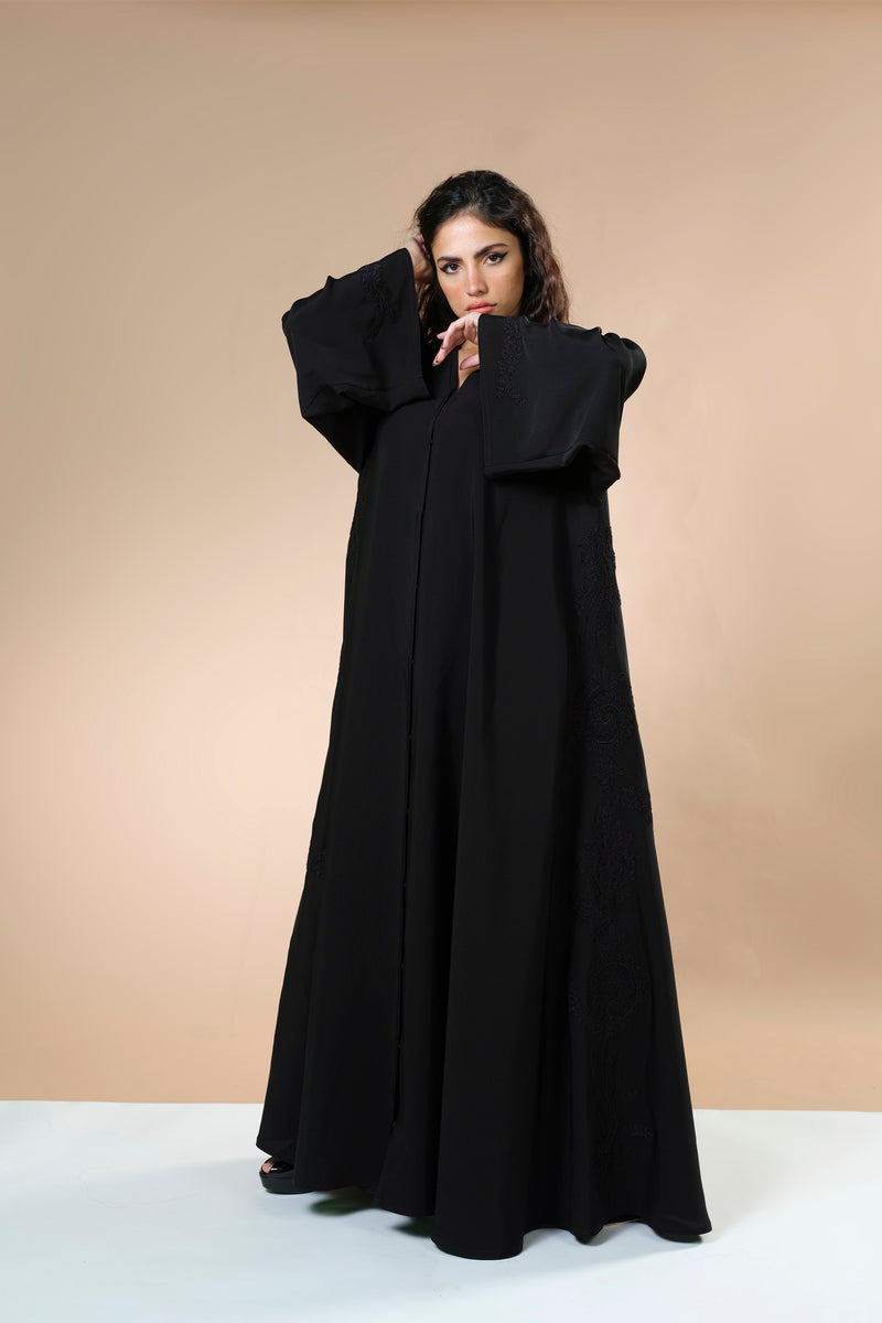 BLACK LACE EMBRODERED OPEN ABAYA.