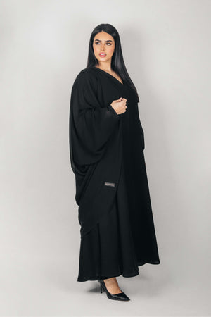 BLACK BUTTERFLY LAYERED CREPE ABAYA.