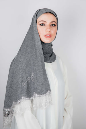 DARK GREY STRETCH COTTON FRENCH LACE SHEILA.