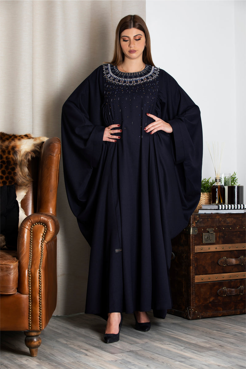 NAVY BLUE HAND EMBROIDERED PLEATED SLEEVES ABAYA.