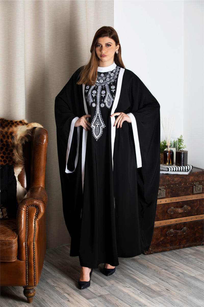 BLACK FLORAL EMBROIDERED STRIPE ABAYA.
