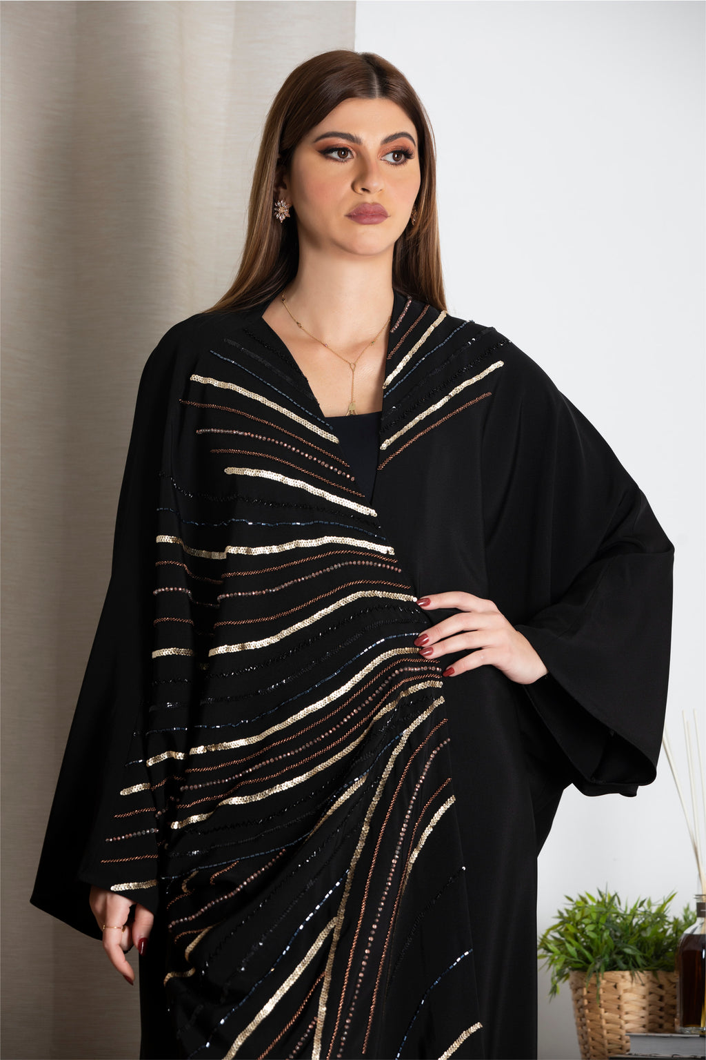 BLACK SEQUINS HAND EMBROIDERED SOLOAN ABAYA.