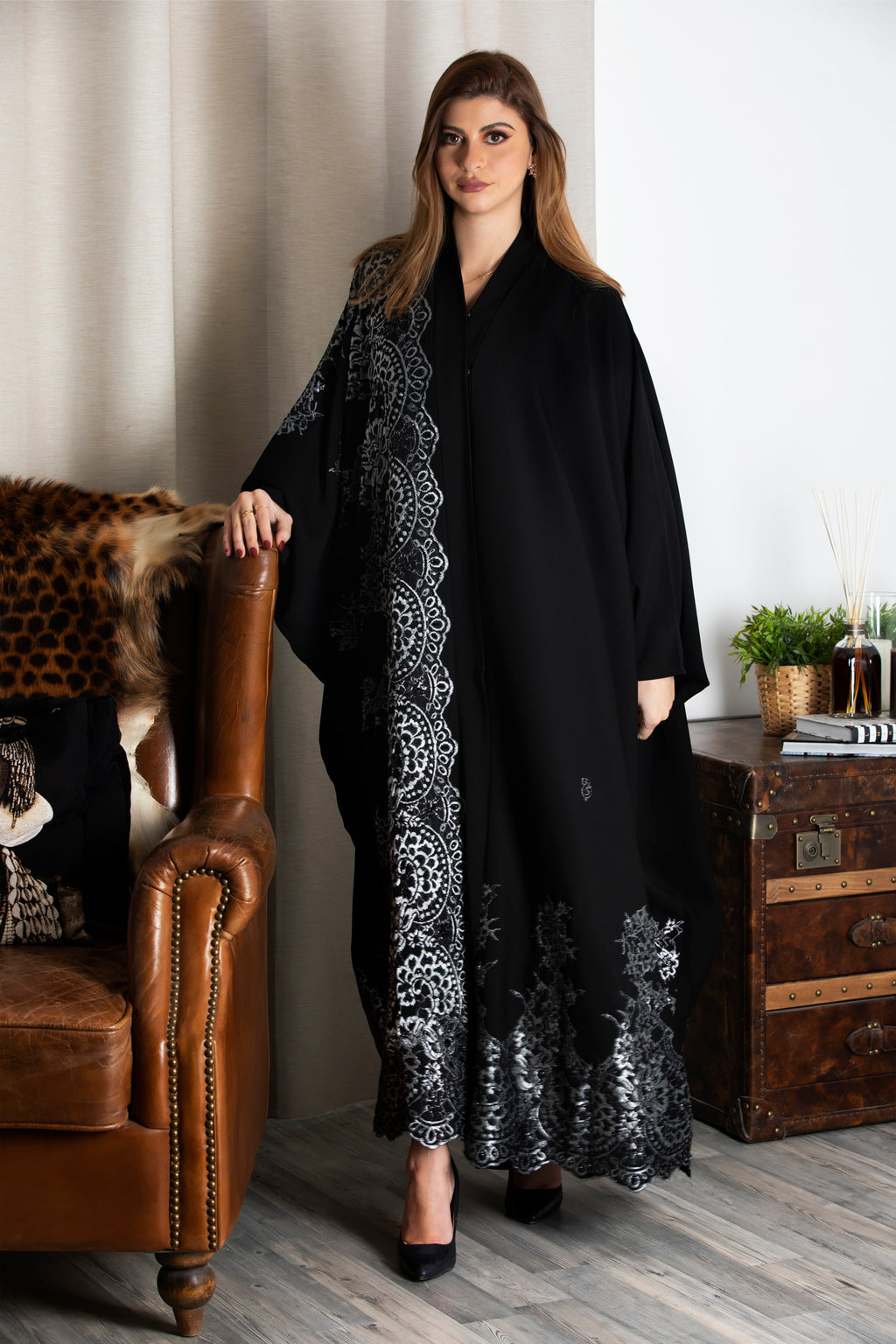 BLACK EMBROIDERED SILVER LACE SOALON ABAYA.