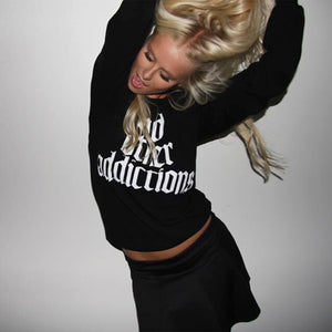"""And other addictions"" Crewneck - Black + White"