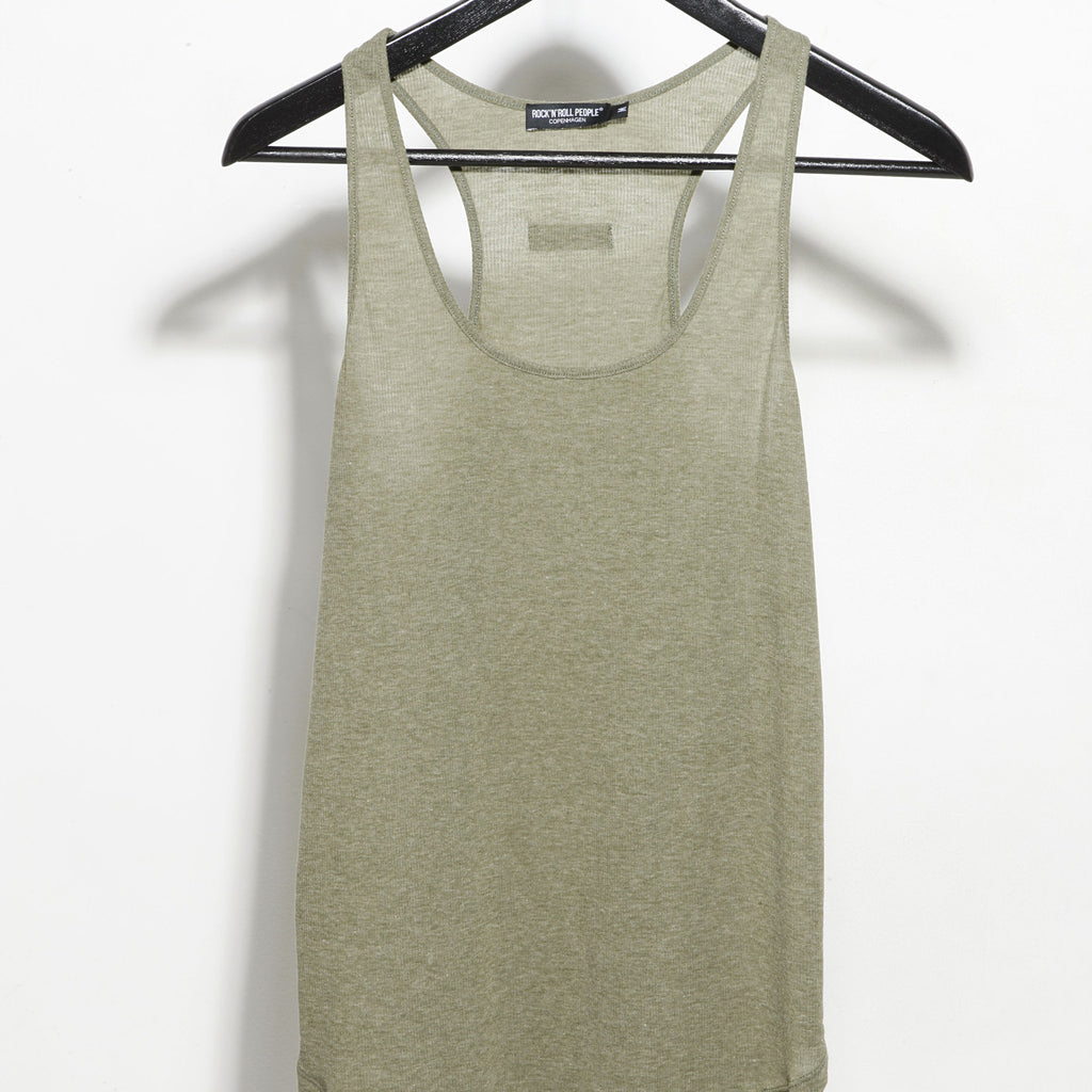 "Ribbed fabric tank top ""Anna"" (Olive green)"