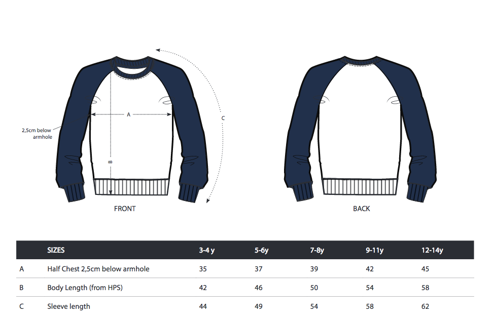 Boys raglan crew - college