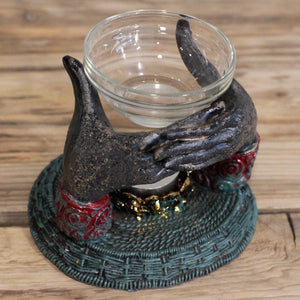 Helping hand glass oil burner