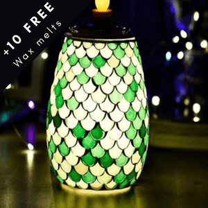 Electric wax melt aromatherapy burner green mosaic