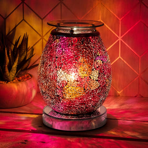 Glowing mosaic red/pink wax burner