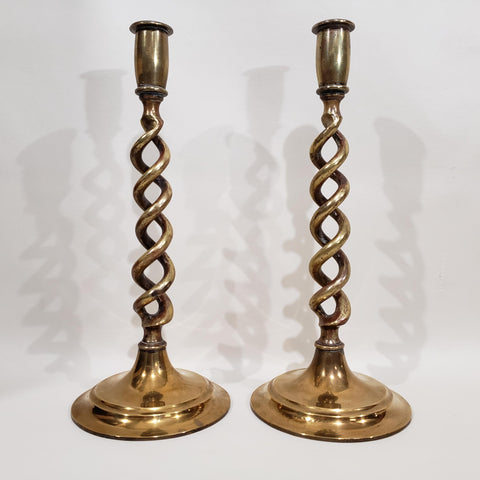 Brass Double Helix Candlestick Pair