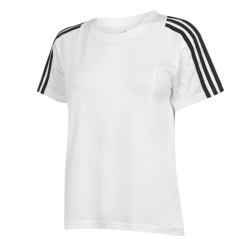 adidas - 3 Stripe Mesh T Shirt Ladies