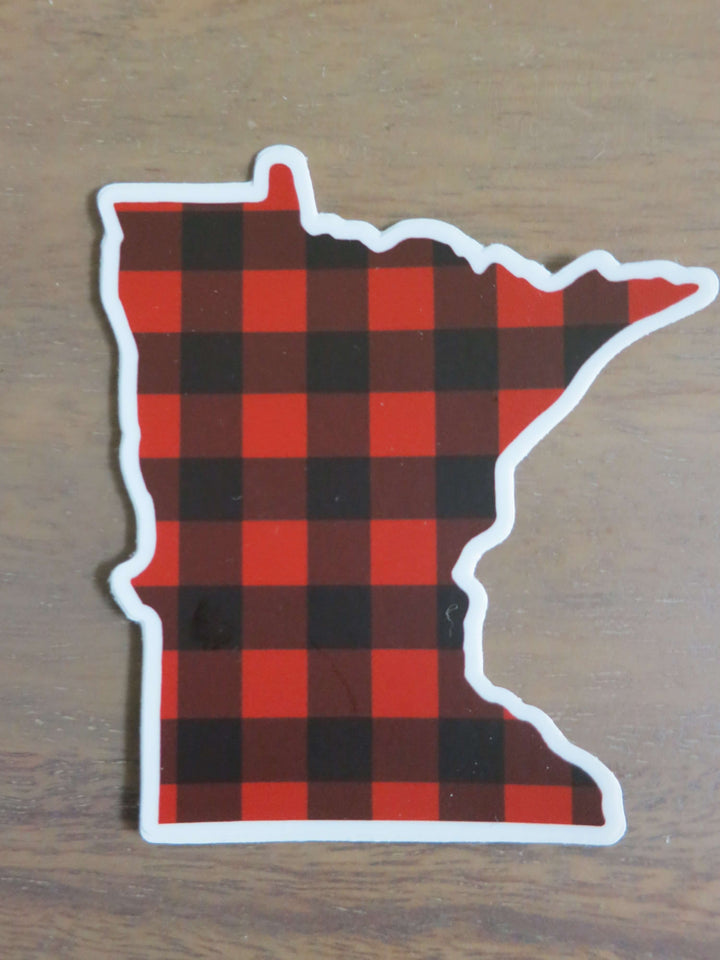 Minnesota Buffalo Plaid-Stickers-Spread Your Sparkle