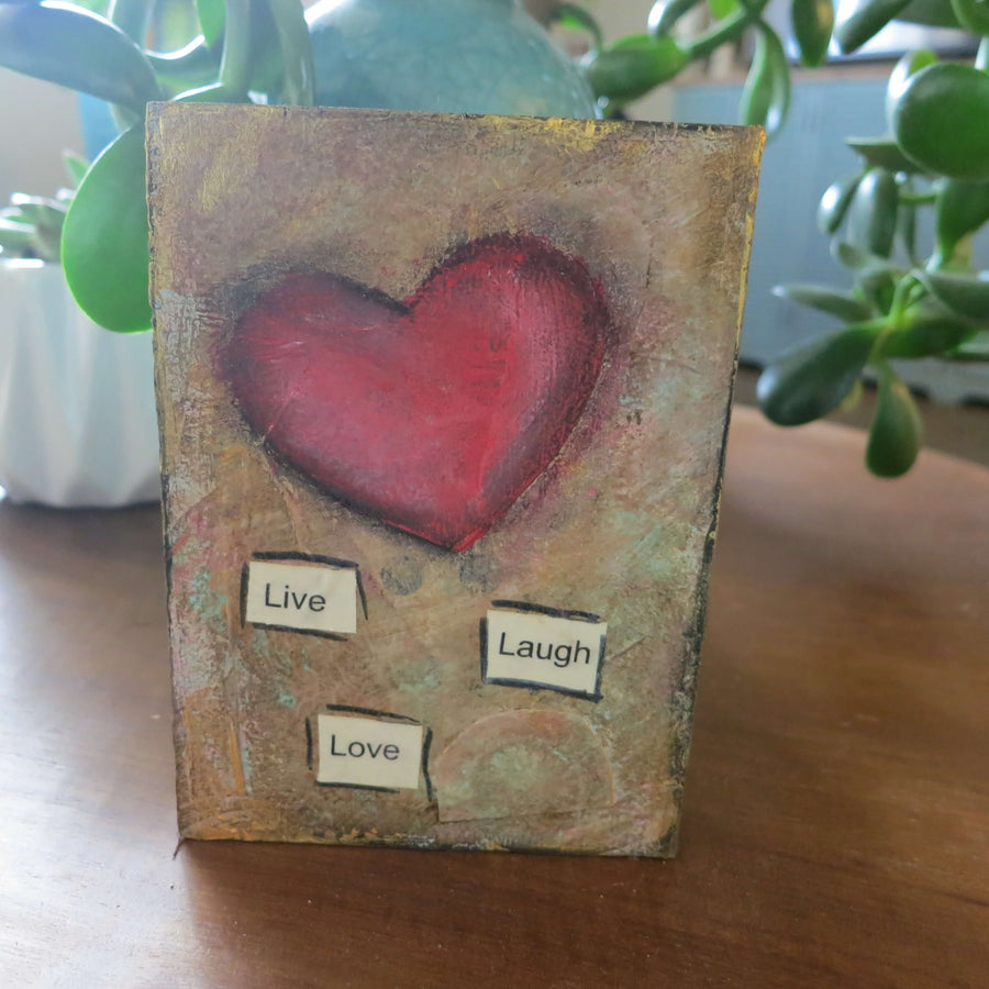 "3.5"" x 5"" Original Acrylic Hand Painted Mixed Media ""Live Laugh Love""-Shelf Sitters-Spread Your Sparkle"