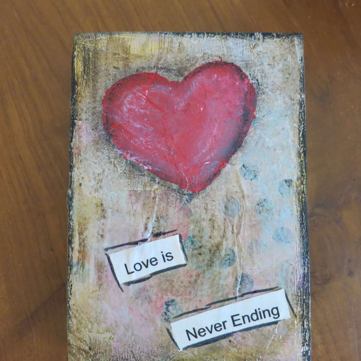 "3.5"" x 5"" Original Acrylic Hand Painted Mixed Media ""Love is Never Ending""-Shelf Sitters-Spread Your Sparkle"
