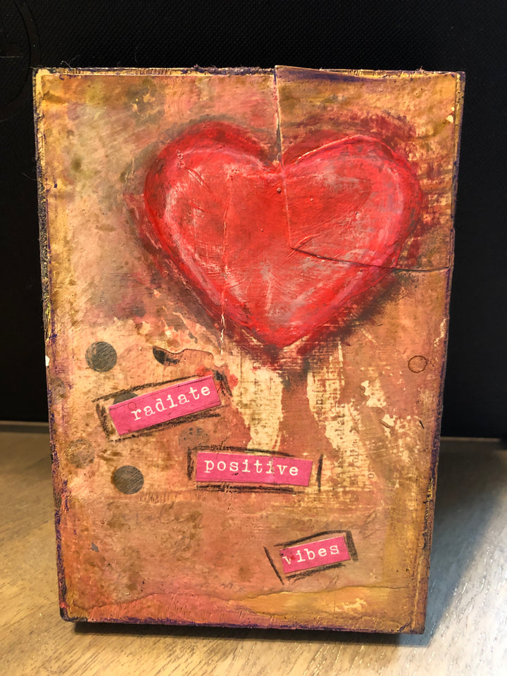 "3.5"" x 5"" Original Acrylic Hand Painted Mixed Media ""Radiate Positive Vibes""-Shelf Sitters-Spread Your Sparkle"