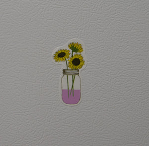 Three Sunflowers in Mason Jar Mini-Stickers-Spread Your Sparkle