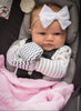 Handsocks 1001 ELODIE (Chevron w/Grey) Plush Stay-On Strap-Free No-Scratch Warm Baby & Kid Mittens