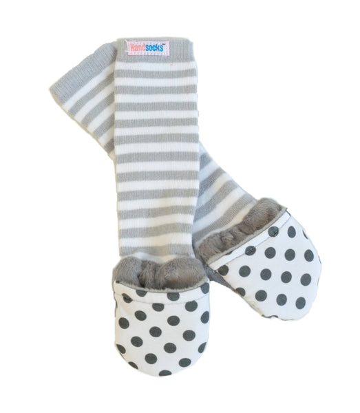 Handsocks Plush Baby and Kid Mittens, style Bailey (Grey Dot/Grey Stripe)