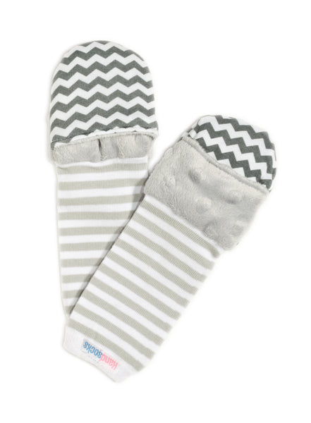 Handsocks Plush No-Scratch and Warmth Baby and Kid Mittens,  style Elodie (Grey Chevron)