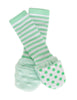 Handsocks Plush No-Scratch and Warmth Baby and Kid Mittens, style Finn (Green Dot/Green Stripe)