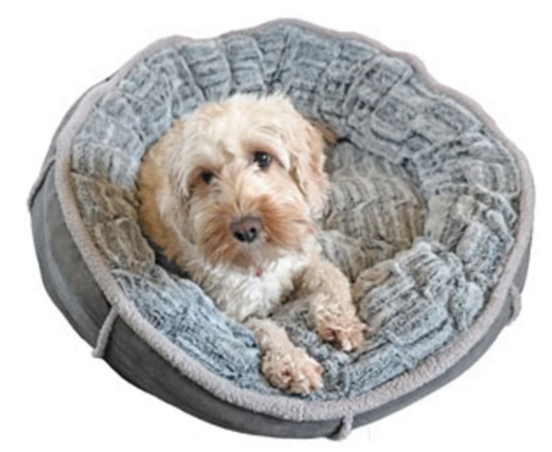 Deep Plush Grey Donut Pet Bed