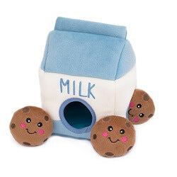 ZippyPaws Milk and Cookies Burrow Dog Toy