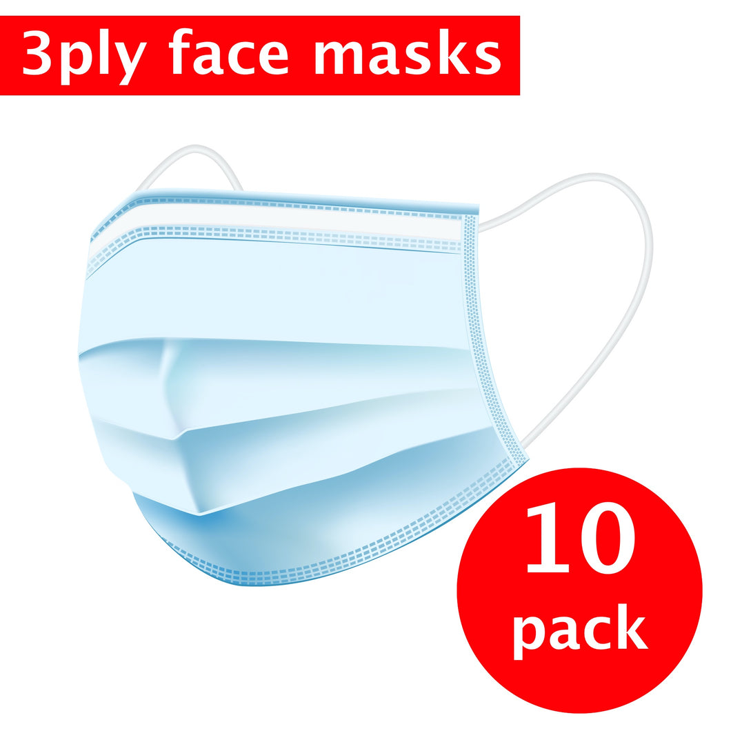 3-Ply Face Masks with Earloop - 10 pack