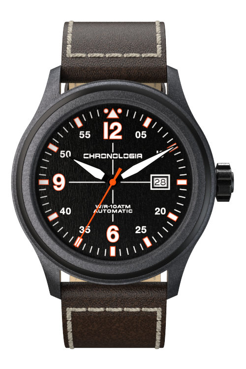 Chronologia Pilot Black with Leather Strap