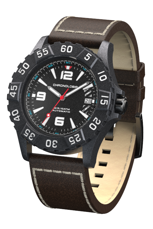 Chronologia Climber Satin Black with Brown Leather Strap