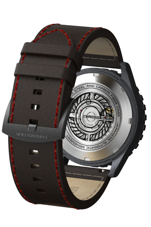 Chronologia Climber Satin Black with Black Leather Strap