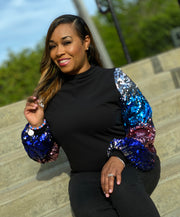 Black Ponte knit - Pink and Blue Ombre Sequins Bishop Sleeve