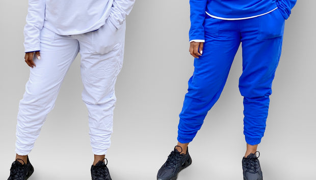 Reversible Blue and White Jogger Pants- Final Sale