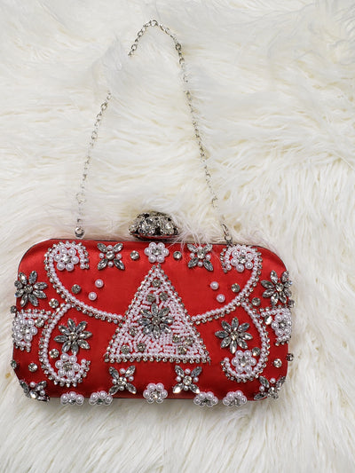 Red Satin Pyramid & Pearl Rhinetone Evening Bag