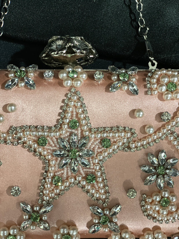 Silver Star Pearl & Rhinestone Evening Bag