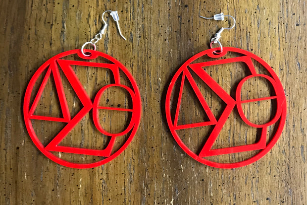 Red Delta Pyramid or Circle earrings