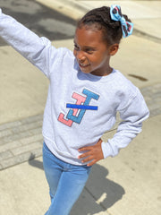 Youth Grey Sweatshirt - Jack and Jill Chenille patch