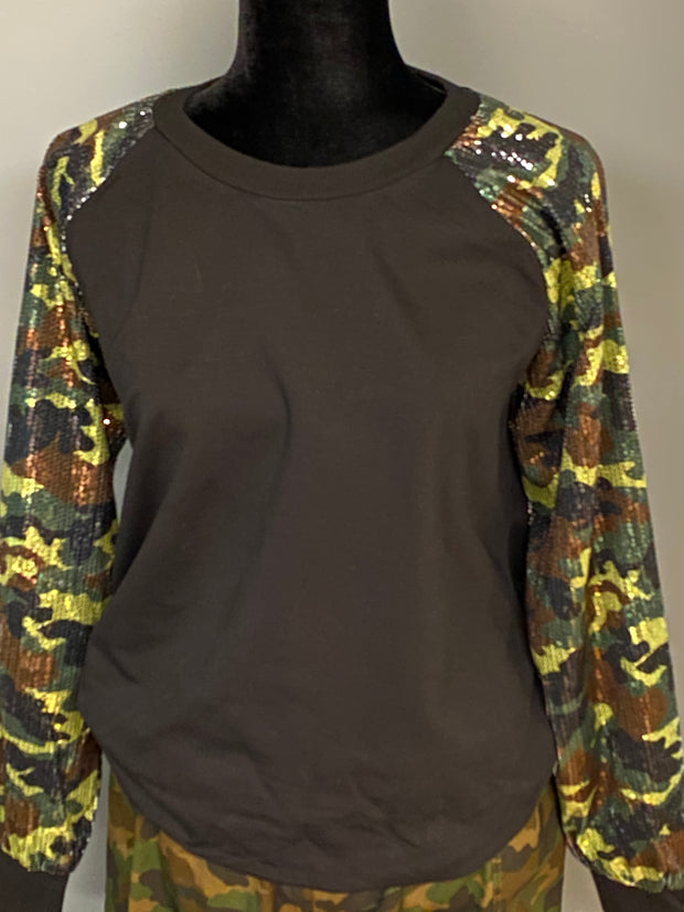 Blank Black Camo Sequins Sleeve Sweatshirt