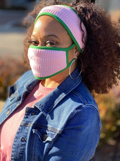 Pink and Green trim -Knit Headband and Mask set